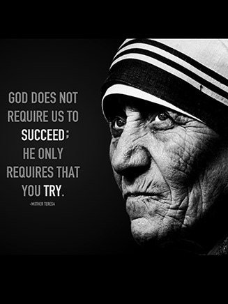 God doesn't require us to succeed, he only requires that you try.  Mother Teresa